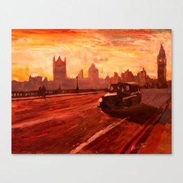 London Taxi Big Ben Sunset with Parliament  Canvas Print