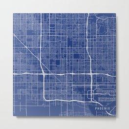 Phoenix Map, USA - Blue Metal Print