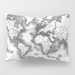 Black and White World Map (1911) Pillow Sham