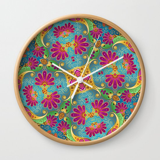 colorful flower pattern Wall Clock
