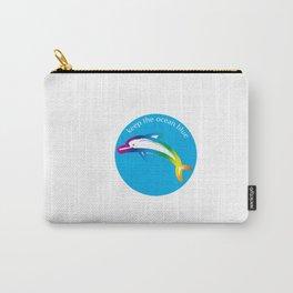 Keep the Ocean Blue_Rainbow Dolphin_C Carry-All Pouch