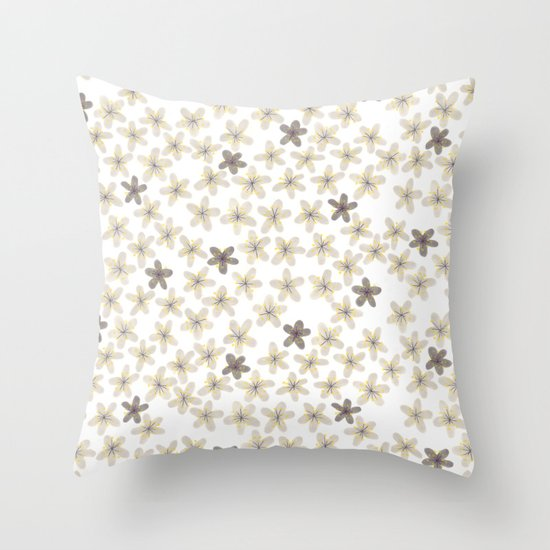 Grey and yellow flowers  Throw Pillow