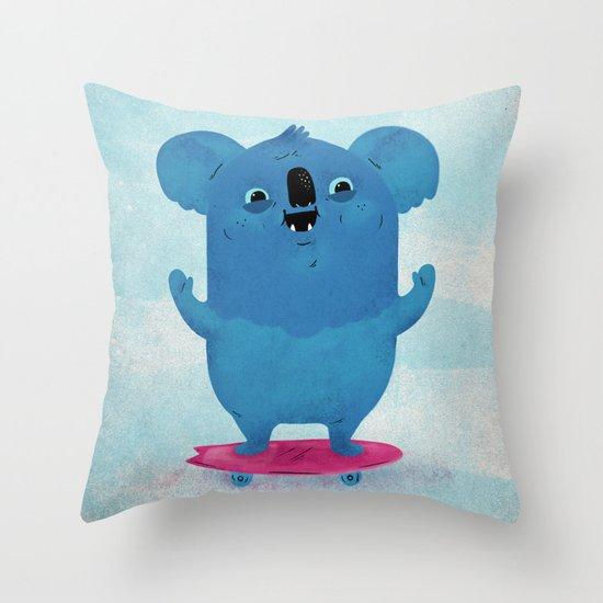Kickflip Koala Throw Pillow