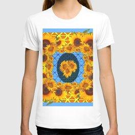 DECORATIVE  BABY BLUE ART & YELLOW SUNFLOWERS T-shirt