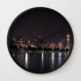 Chicago night skyline, Usa. Wall Clock