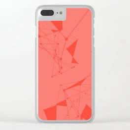 Coral with Connected Lines Clear iPhone Case