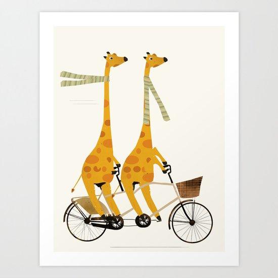 lets tandem giraffes Art Print