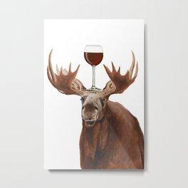 Moose With Wineglass Print Metal Print