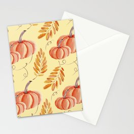 watercolor pumpkin and rowan Stationery Cards