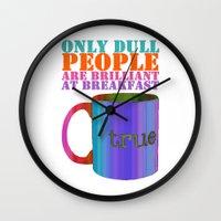 oscar wilde Wall Clocks featuring Oscar Wilde #5 Dull People by bravo la fourmi
