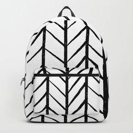 black and white modern hand drawn herringbone chevron pattern Backpack