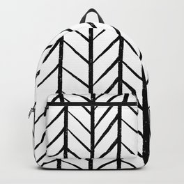 black and white modern hand drawn herringbone chevron pattern Backpack