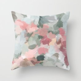 Blue Sage Green Coral Pink Tropical Flowers in the Wind Abstract Nature Ocean Painting Art Print Wall Decor  Throw Pillow