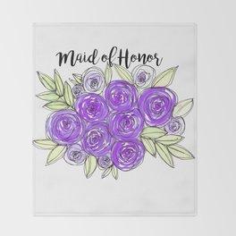 Maid Of Honor Wedding Bridal Purple Violet Lavender Roses Watercolor Throw Blanket