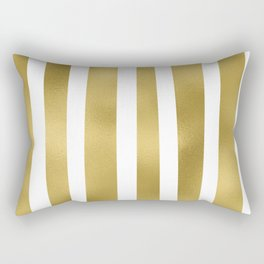 Gold unequal stripes on clear white - vertical pattern Rectangular Pillow