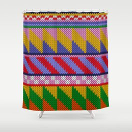 Knitted colorful abstract pattern Shower Curtain