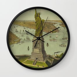 Currier & Ives. - Print c.1885 - Statue of Liberty 2 Wall Clock