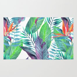 Tropical watercolor print | Bird of paradise Rug