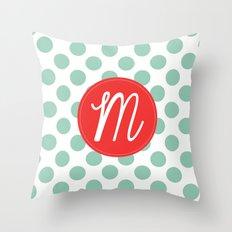 Monogram Initial M Polka Dot Throw Pillow