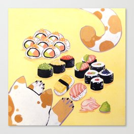 Sushi+cats=yes Canvas Print