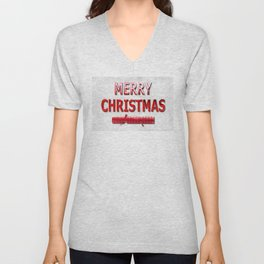 Merry Christmas With Red Cracker in Snow Unisex V-Neck