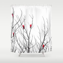 Artistic Bright Red Birds on Tree Branches Shower Curtain