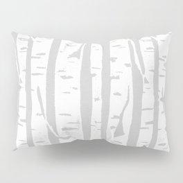 Woodcut Birches Grey Pillow Sham