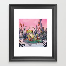 tentacle frog and life in pink ! Framed Art Print
