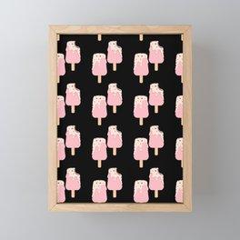 Ice cream twins cute pink pattern black background Framed Mini Art Print