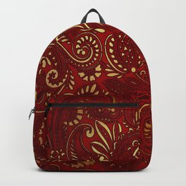 Red Burgundy Deep Gold Paisley Floral Pattern Print Backpack