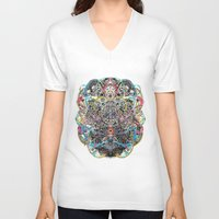 mask V-neck T-shirts featuring Mask by Nicole Linde