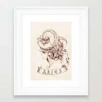 aries Framed Art Prints featuring Aries by Morgan Ofsharick - meoillustration