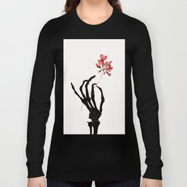 Skeleton Hand with Flower Long Sleeve T-shirt