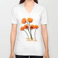 oriental V-neck T-shirts featuring Oriental Poppies  by LudaNayvelt