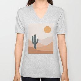 Dark Cactus with white flowers , desert climate , sun and sand ,cactus ideas, Arizona  Unisex V-Neck
