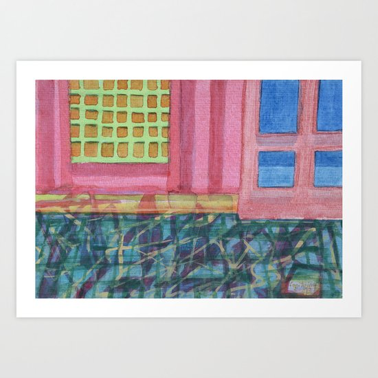 Interieur with pink Wall Art Print