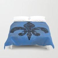 fleur de lis Duvet Covers featuring Blue Fleur de Lis by Riaora Creations