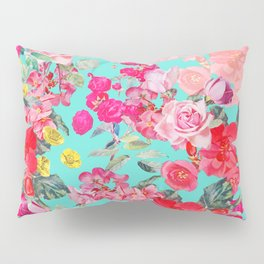 Bright Turquoise/Teal  Antique inspired Floral Print With Hot pink, baby Pink, Coral and Yellow Pillow Sham
