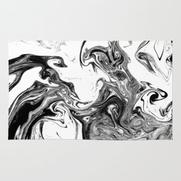 Suminagashi black and white marble spilled ink ocean swirl watercolor painting Rug