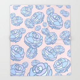 Blue Roses Forest Pink Sky Throw Blanket