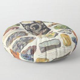 Adolphe Millot Minerals Larousse Vintage Scientific Encyclopedia Illustration Mineralogy Gemstones  Floor Pillow