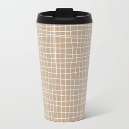 White and Brown Weave Pattern Travel Mug
