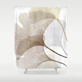 Brown Beige Skeleton Ginkgo Leaf, Modern Minimalist Botanical Photography Shower Curtain