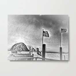 Morro Rock black and white Metal Print