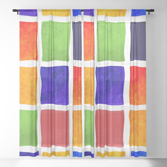 Bright abstract watercolor pattern Sheer Curtain