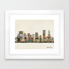 portland oregon skyline Framed Art Print