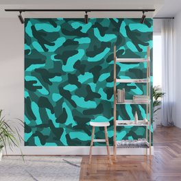 Aqua Turquoise Blue Green Camo Camouflage Wall Mural