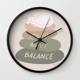 It's All About Balance, Balancing Stones With Sleeping Cat in Neutral Pastel Cream Colors Wall Clock