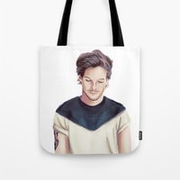 louis armstrong Tote Bags featuring Louis  by thestoryischanging