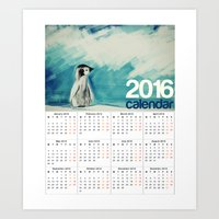 calendars Art Prints featuring 2016 Calendar Baby Penguin by James Peart